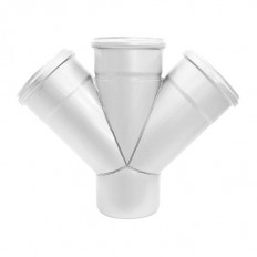 Abflussrohr-Doppelabzweig 45° aus Edelstahl