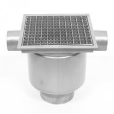 Bodenablauf PROFI einteilig 300x300, 2 Zuläufe aus Edelstahl