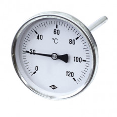 Edelstahlthermometer Ø 100 mm, 100 mm Länge