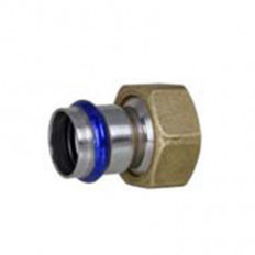Adaptor with union nut in brass and a flat seal, V-contour