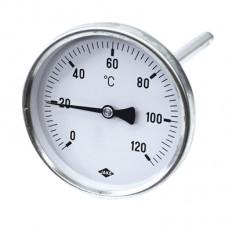 Edelstahlthermometer Ø 63 mm, 100 mm Länge